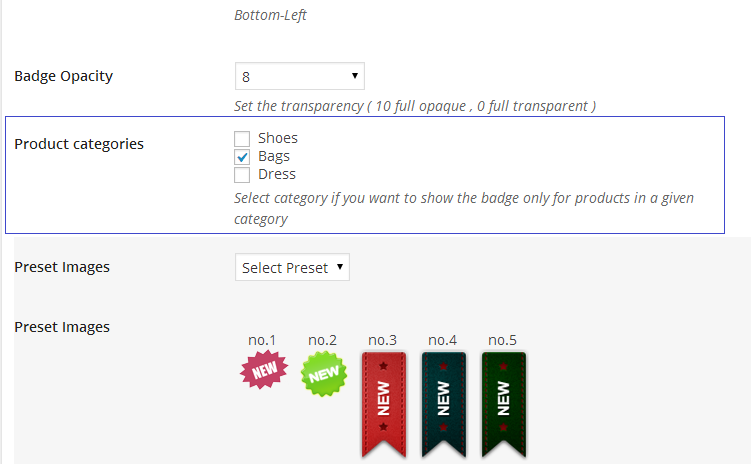 select category for the badge