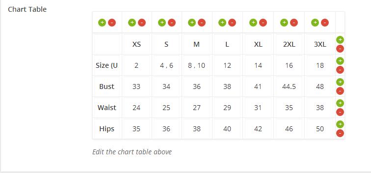 Woocommerce Product Chart Sizes Table - 7